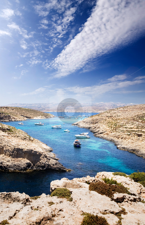 Blue Lagoon stock photo, The  Blue Lagoon in Comino, Malta by Tyler Olson