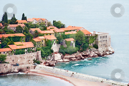 Island in Adriatic sea stock photo, Small island Sveti Stefan in Adriatic sea in Montenegro by Julija Sapic