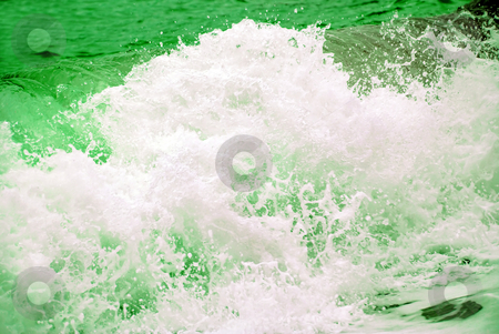 Storm green wave stock photo, Splashes storm wave foam in green and white by Julija Sapic