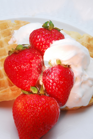 Waffles and Strawberries stock photo, Waffles and strawberries in the morning. by Timothy OLeary