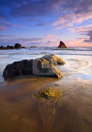Golden Coast stock photo, A colorful sunset gives the kep on the rocks a golden glow and the moving tides carry the color by Mike Dawson
