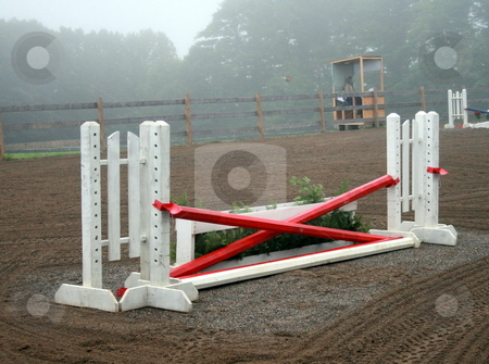 Jump Gate - Horse Show stock photo, A red and white wood gate at the horse show by Tom and Beth Pulsipher
