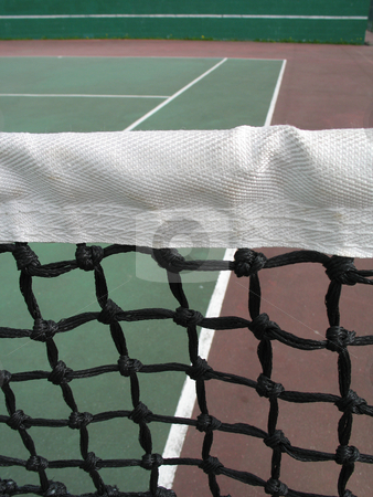 Green tennis net close up stock photo,  by Mbudley Mbudley