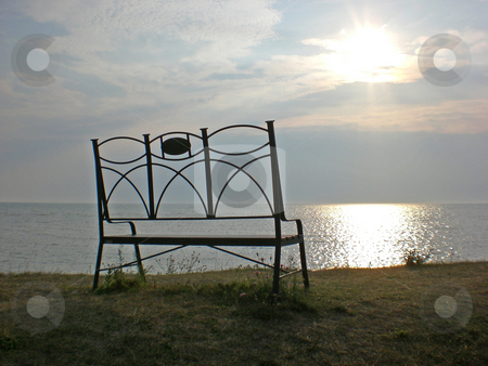Bench with relaxing view stock photo,  by J.G. Byers