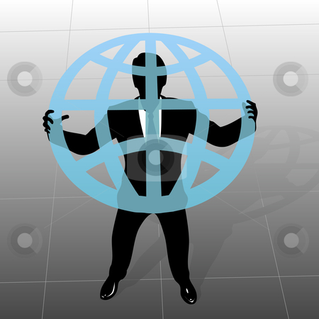 Global business man silhouette holds up globe from above stock vector clipart, Global Business: a businessman silhouette holds up a translucent globe, in a view from above. by Michael Brown