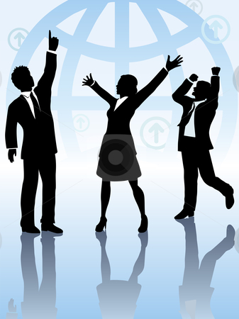 Global business people team celebrate win stock vector clipart, A team of 3 business people, 2 men 1 woman, celebrate a worldwide win in front of globe background. by Michael Brown
