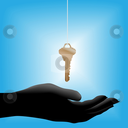 Glowing house key drops into a cupped hand held out stock vector clipart, A glowing shiny brass house key on a string drops into a cupped open hand held out, symbolic of a real estate sale. by Michael Brown