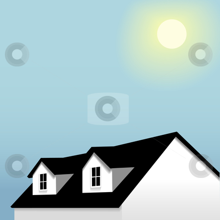 Home roof with dormers on blue sky & sun background stock vector clipart, An illustration of a house with roof dormer windows, under a blue sky background. by Michael Brown