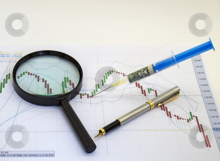 Financial injection stock photo, Metaphor about financial and stock market exchange. by Sinisa Botas