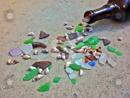 Sea glass spill 2 stock photo,  by J.G. Byers