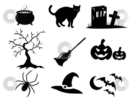 Halloween Icons stock vector clipart, Icon illustration of Halloween elements in black by Stephanie Soon