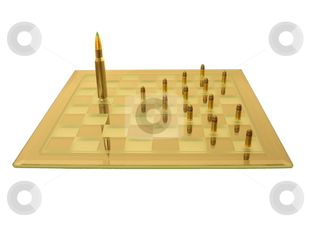 War with pawns. stock photo, The king fights the pawns on the chess board (isolated). by Todd Dixon