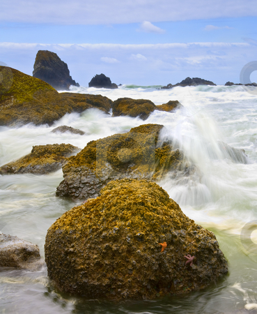 Impact stock photo, Working my way around the headlands from Indian Beach when I noticed the waves exploding off this rock and managed to find a spot out of harms way to grab the shot. by Mike Dawson