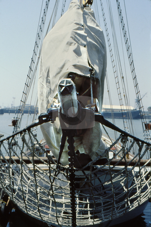 Star Mast stock photo, Front rigging of large sail craft with netting and star mast by Joseph Ligori