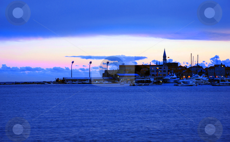 Evening seaside in  blue stock photo, Blue sunset at adriatic sea over Budva, Montenegro by Julija Sapic