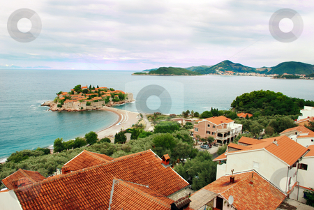 Island in Adriatic sea stock photo, Small island Sveti Stefan in Adriatic sea in Montenegro by Julija Sapic