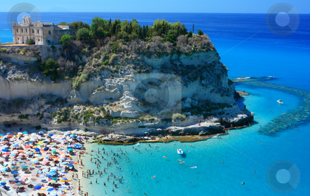 Tropea peninsola with beach stock photo, Scenic landscape with beach and Tropea peninsola by Natalia Macheda