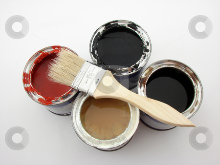 Painting stock photo, Paintbuckets and brushes isolated over white background. by Nedim Juki?