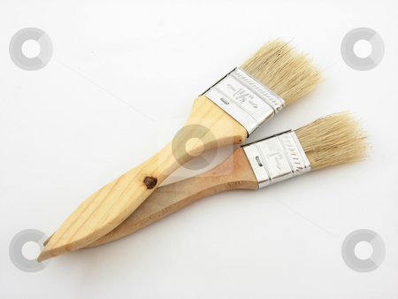 Painting stock photo, Wooden painting brushes isolated over white background. by Nedim Juki?