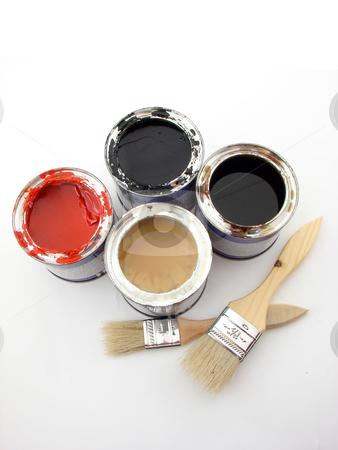 Painting stock photo, Paintbuckets and brushes isolated over white background. by Nedim Juki?