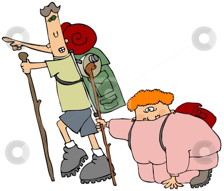 Out Of Shape Hiker stock photo, This illustration depicts a fat woman on a hike being led by a skinny male with a large pack. by Dennis Cox