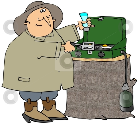 Camper Cooking Eggs stock photo, This illustration depicts a camper cooking eggs on a propane stove. by Dennis Cox