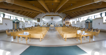 Church stock photo, Panoramic view of a modern catholic church by Vlad Podkhlebnik