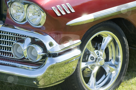 Old car stock photo, Close-up view of the front of an old car by Vlad Podkhlebnik