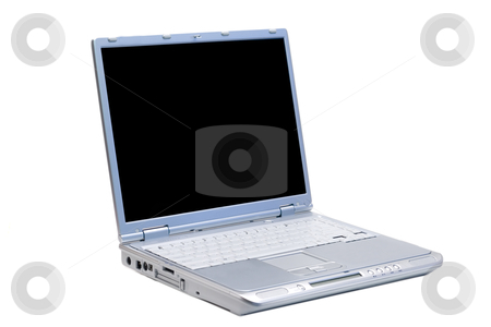 Isolated Right Facing Laptop stock photo, An isolated silver laptop facing right on a white background by Johan Knelsen