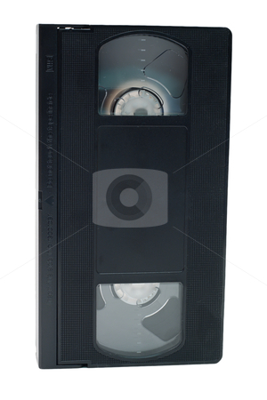 Tape Standing Up Right stock photo, An obsolete black video tape isolated on a white background by Johan Knelsen