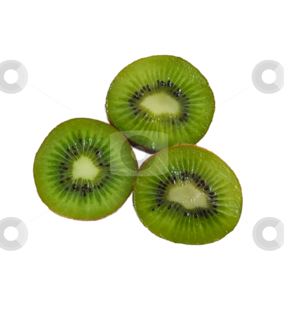 Kiwi stock photo, Three kiwis that sparkle isolated on a white background by Johan Knelsen