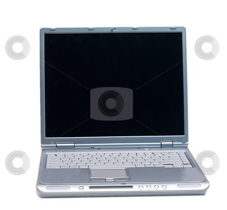 Isolated Silver Laptop stock photo, An isolated silver laptop on a white background by Johan Knelsen