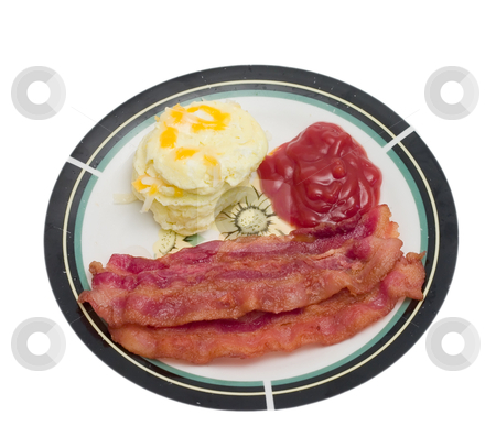 Bacon and Eggs stock photo, Breakfast meal of bacon and eggs isolated on a white background by Johan Knelsen
