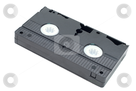 VHS Video Cassette Tape stock photo, An obsolete black video tape isolated on a white background by Johan Knelsen