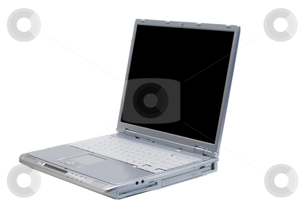 Isolated Laptop Facing Left stock photo, An isolated silver laptop facing left on a white background by Johan Knelsen