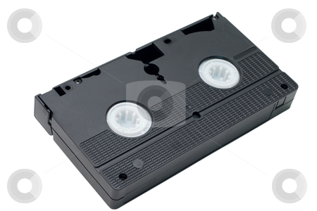 Video Cassette Tape stock photo, An obsolete black video tape isolated on a white background by Johan Knelsen