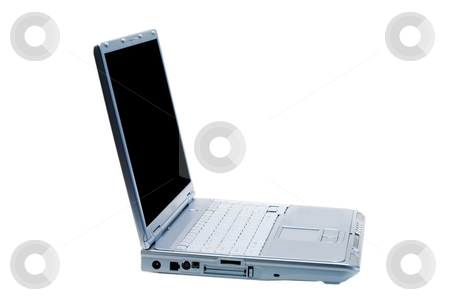 Isolated Laptop Facing Right stock photo, An isolated silver laptop facing right on a white background by Johan Knelsen