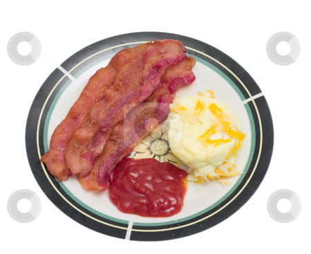 Eggs and Bacon stock photo, Breakfast meal of bacon and eggs isolated on a white background by Johan Knelsen