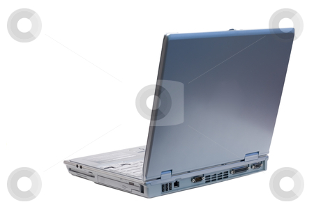 Back Left Isolated Laptop stock photo, An isolated silver laptop facing back left on a white background by Johan Knelsen