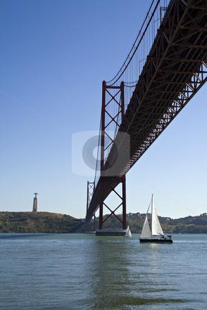 25 of April Bridge stock photo, Suspencion Bridge over the Tagus river in Lisbon by Paulo Resende