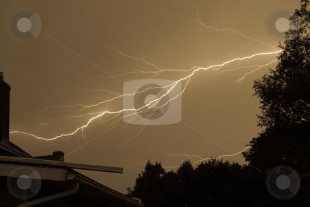 Lightning Storm stock photo, Intense Lightning Storm striking across the frame to a chimney by Johan Knelsen