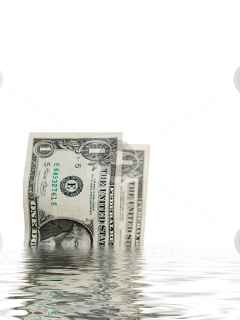 Dollar bills in water stock photo, Two one dollars bills with water reflection by Laurent Dambies