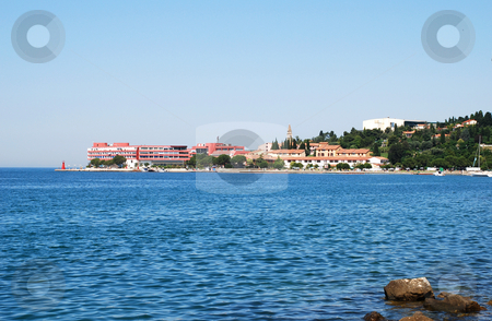 Seaside landscape stock photo, Adriatic sea coast landscape  in Portoroz, Slovenia by Julija Sapic