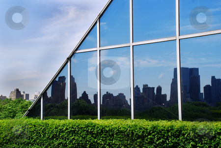 Urban view stock photo, Urban landscape in glass wall reflection in new york by Julija Sapic