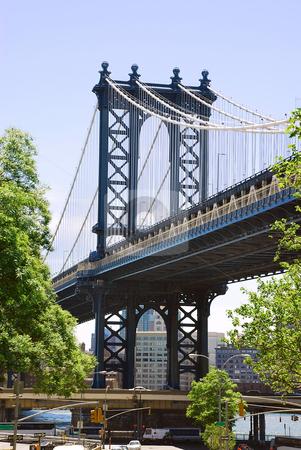 Bridge stock photo, Fragment of Brooklyn Bridge in New York by Julija Sapic