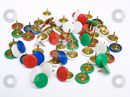 Tacks stock photo, Little tacks in many color isolated on white bacground. by Sinisa Botas