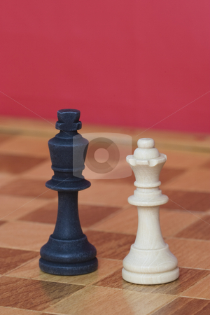 Black King & White Queen stock photo, Black king and white queen from a game of chess on a chess board by Inge Schepers