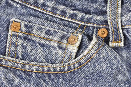 Jeans Pocket stock photo, Closeup photo of a pair of jeans with emphasis on the pocket area by Inge Schepers