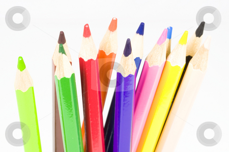 Colorful Pencils stock photo, Colorful pencils against a light background by Inge Schepers