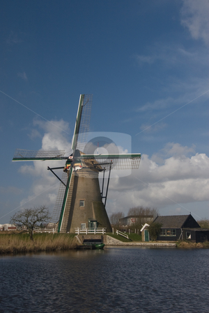 Dutch Windmill and Shed stock photo, Dutch windmill and shed at Kinderdijk, South Holland by Inge Schepers